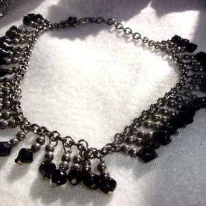 Jewelry - Black bead fringe anklet or bracelet